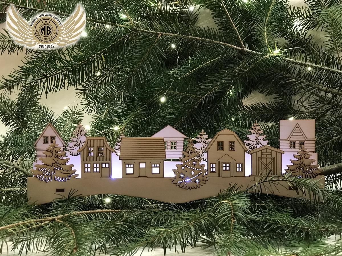 Dřevěná LED dekorace - domečky